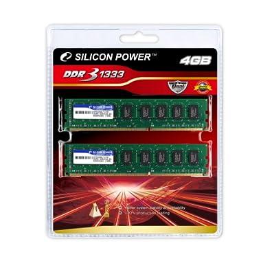 シリコンパワー メモリモジュール 240Pin DIMM DDR3-1333(PC3-10600)2GBx2枚組 ブリスターパッケージ SP004GBLTU133V21