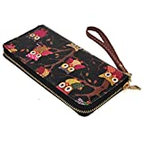Tonsee Owl Printing Wallet Clutches Card Holder Handbag (Black)