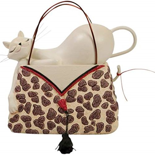 WL SS-WL-20908 Sleepy White Kitty Cat on Leopard Print Pocketbook Display Figurine (Pocketbook Display compare prices)