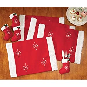 Amazon.com: Santa Claus Clause Table Linens Placemats and Utensil ...