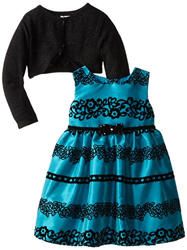 Youngland Little Girls' Lace Detail Occasion Dress With Shrug, Teal, 2T