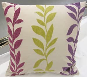 "SUPERB FUNKY LEAVES PINK PURPLE CREAM GREEN FAUX SILK CHENILLE 18"" CUSHION COVER PILLOW CASE SHAM"