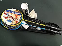 Victor Badminton Racket Set Two Light Weight Racket with Feather Shuttlecocks