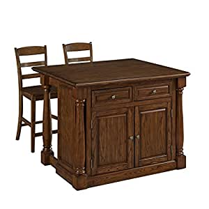 Home Styles 5006 9448 Monarch Kitchen Island And Two Stools Oak Finish Kitchen