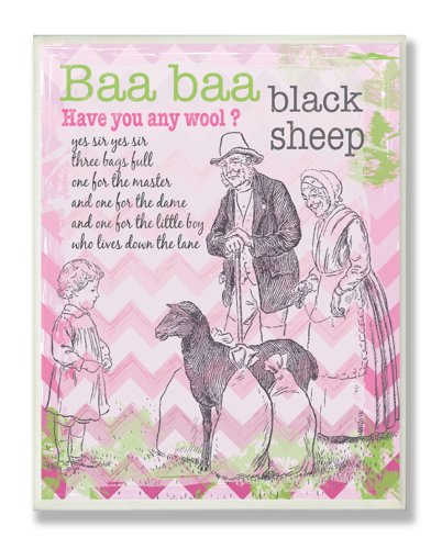 The Kids Room by Stupell Baa Baa Black Sheep Nursery Rhyme on Pink Chevron Background Rectangle Wall Plaque