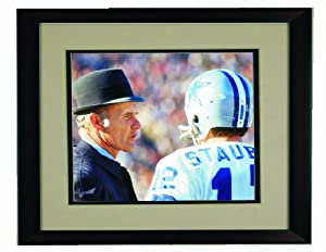 Dallas Cowboys Tom Landry and Roger Staubach Framed 8x 10 Photo by Champion