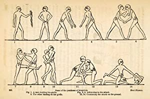 1854 Woodcut Ancient Egyptian Wrestlers Wrestling Positions Sport Archaeology - Original Woodcut