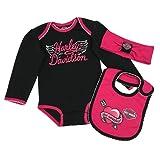 Harley-Davidson Baby Girls' 3-Piece Newborn Creeper, Headband & Bib Set (0/3M) (Color: Black, Tamaño: 0-3 Months)