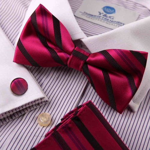Multicoloured bow tie stores men wearing bowties Multicoloured Stripes Silk Pre-tied Bowtie, Cufflinks,Handkerchiefs Present Box Set BY Epoint EBC1025