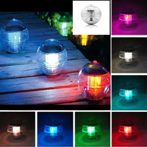 2PC Solar Power Waterproof Floating LED Lamp Light 7 Colors Changing Floating Globe Swimming Pool Bathtub Party Lantern
