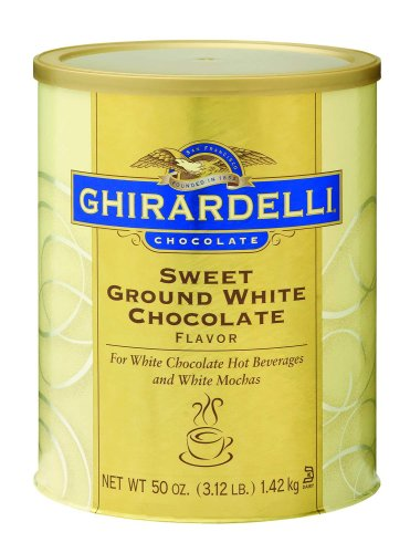 chocolate beverages: Ghirardelli Chocolate Sweet Ground White Chocolate Flavor Beverage Mix, 50-Ounce Can