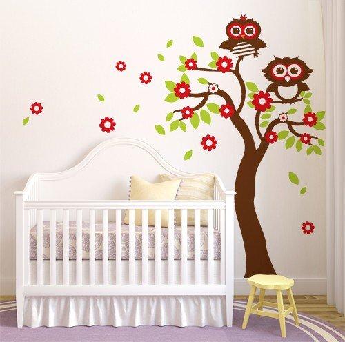 Adesivo murale wall sticker per bambini albero fiori e - Alberi decorativi da parete ...
