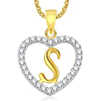 Meenaz Gold Plated 'S' Letter With Chain In American Diamond Cz Pendant For Women And Men Ps410