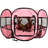 """OxGord 8-Panel Pop-Up Tent with Carry Bag Portable PlayPen for Pets, 48 by 48 by 25"""", Pink"""
