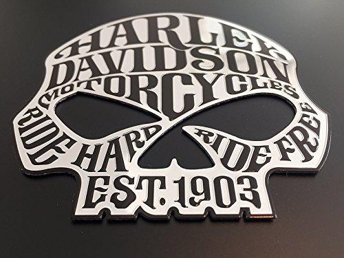 "SCRITTA STEMMA LOGO ADESIVO SKULL ""HARLEY DAVIDSON"" EFFETTO RILIEVO LUCIDO"