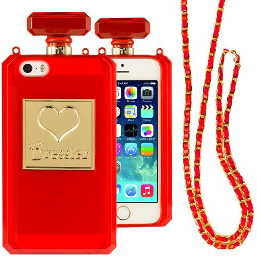 Dressier 5S Perfume Bottle Case With Chain For Iphone 5/5S - Clear Red