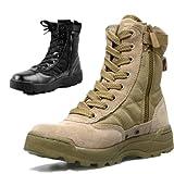 SWAT・ ミリタリージャングルブーツ(サイド ジップ付き)・デザートブーツ/マウンテンブーツ ブラック 26.5cm