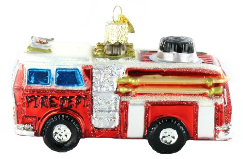 Old World Christmas Fire Truck Glass Blown Ornament