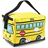 Cute Yellow School Bus Insulated Lunch Bag
