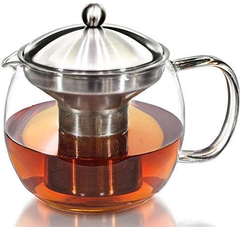Willow & Everett Teapot Kettle with Warmer - Tea Kettle and Tea Strainer Set - Tea Pot Infuser Holds 3-4 Cups (Microwavable Glass Pitcher compare prices)