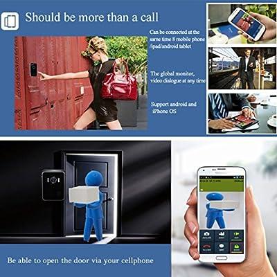 inkint ® Smart WiFi Doorbell Wireless IP Intercom Interphone Peephole Camera Video Door Bell Unlock Alarm Door Phone for Android Mobile ISO IPad Tablet