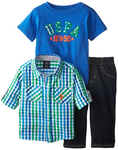 U.S. Polo Assn. Baby-Boys Infant Long Sleeve Plaid Sport Shirt Graphic T-Shirt Creeper And Denim Jeans Set, Strong Blue, 12 Months front-662417