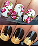 WATER DECALS NAIL TRANSFERS STICKERS! #173 PLUS GOLD LEAF SHEET FOR CUSTOM DESIGNED NAIL! ANIMAL PRINT FLOWERS BOWS LACE FRENCH TIPS WRAP & 24KT GOLD LEAF! CAN BE USED WITH NATURAL GEL ACRYLIC STICK ON NAILS! USE WITH GLITTER DUST CAVIAR BEADS ALLOYS DEC