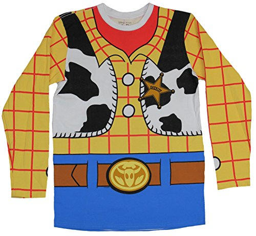 Toy Story Mens Long Sleeve T-Shirt - Woody Full Costume Front & Back Image (XXX-Large) Yellow (Woody Costumes Adults)