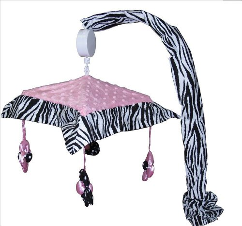 Musical Mobile For Pink Minky Zebra Baby Bedding Set