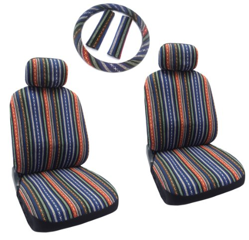 Baja Blue - Striped Saddle Blanket Front Seat Cover Pair - Complete W/ Steering Wheel Cover & Seat Belt Pads front-72783
