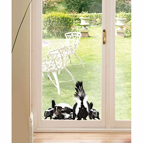 Skunk Family At Door Window Decal