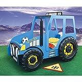 Kinder-Bett-Kinderbett-mit-Matratze-Auto-Traktor-blau