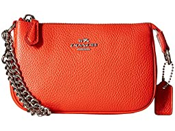 COACH Women\'s Polished Pebble Nolita Wristlet 14 SV/Orange Clutch