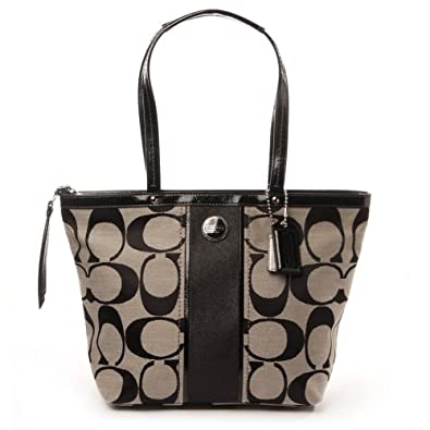 Coach Signature Print Stripe F21950 Women's Handbag Tote Purse Black