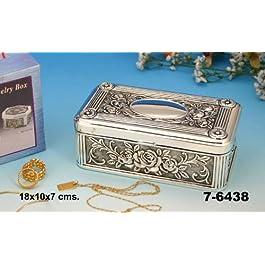 DonRegaloWeb - Joyero - caja de metal plateado lacado. Medidas: 18 cm x 10 cm x 7 cm