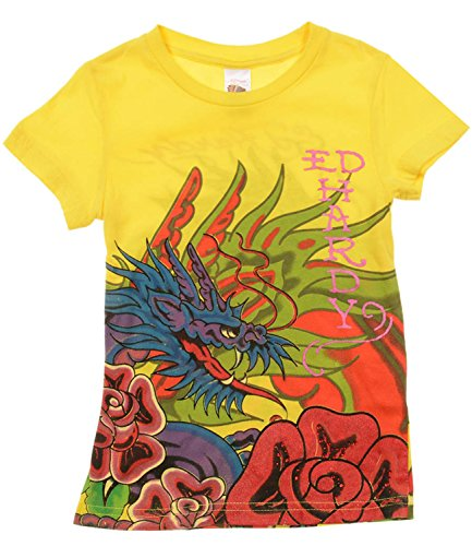 Ed Hardy Little Girls' Bling T-Shirt - Yellow - 3/4