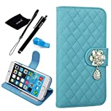 iPhone 6 Plus case, Apple iPhone 6 plus Flip Case with Beauty Diamond Check Design (iPhone 6 Plus(5.5-inch), Lightblue)