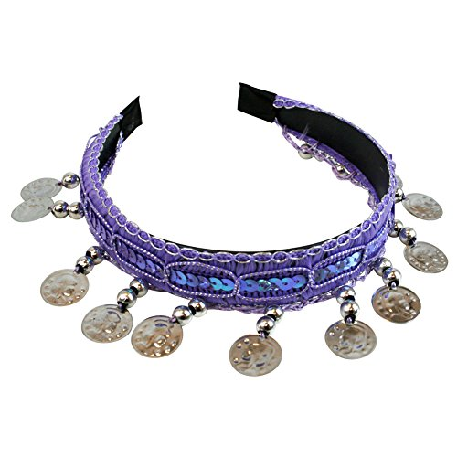 Lavender Belly Dance Tribal Silver Coins Headband Gypsy Jewelry