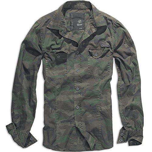 Brandit Uomo SlimFit Camicia Woodland taglia M