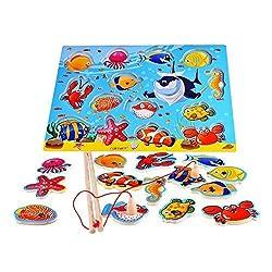 """Beschreibung   Die ultimative Catch-and-Release Angelprogramm, das magnetische Holz-Puzzle-Spiel bietet Wassertier Kunstwerk. Verwenden Sie die magnetischen Angelrute """"fangen"""" die 14 bunten Meeres Freunde aus dem Spielbrett, dann genießen Sie die He..."""