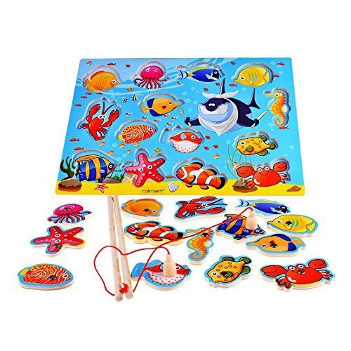 14-Piece Fishes Basic Educational Early Development Wooden Magnetic Bath Fishing Travel Game Toys, Christmas gift toy for age 3 4 5 Year Old Kid Children Baby Toddler Boy Girl Magnet Toy