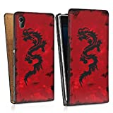 Design bag case for Sony Xperia Z1 DesignTasche Downflip black - Dragon Tribal