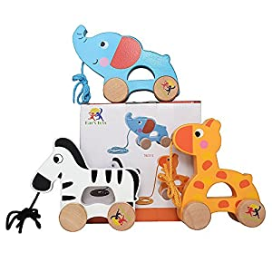 Wooden Pull Along Toy Set Of 3- Beautiful Giraffe, Elephant & Zebra Pull Along Toy For Baby Boy & Girl- The Best Toy For 1-Year Olds and up- Outdoor & Indoor Toy For Babies & Toddlers- Child Safe Toy by Ray's Toys that we recomend individually.
