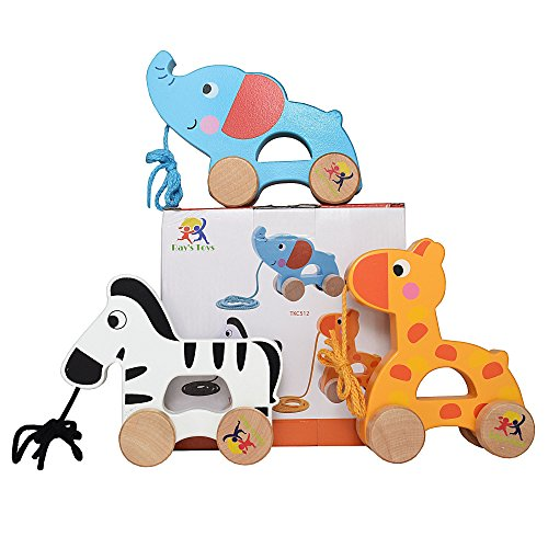 Wooden-Pull-Along-Toy-Set-Of-3-Beautiful-Giraffe-Elephant-Zebra-Pull-Along-Toy-For-Baby-Boy-Girl-The-Best-Toy-For-1-Year-Olds-and-up-Outdoor-Indoor-Toy-For-Babies-Toddlers-Child-Safe-Toy