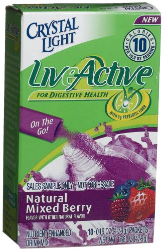 Crystal Light On-the-Go Live Active Natural Mixed Berry, 10-Count Packets (Pack of 6)