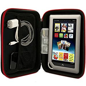 Barnes and Noble NOOK Tablet Hard Cube NEWEST Version, Color, BNTV250Vangoddy Harlin Reinforced Accessories Case with handle and Unique Device Friendly Velcro Usability - RED