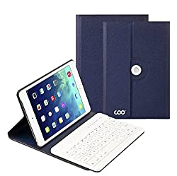 iPad Air 1 2 Keyboard, COO Thanksgiving Gifts Wireless Removable Bluetooth Keyboard Case for Apple iPad Air 1 2 with 360 Degree Rotation and Multi-Angle Stand (Dark Blue)