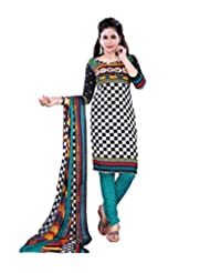 Prafful Black-White Beautiful Cotton Printed Unstitched Salwar Suit