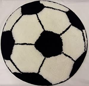 Stunning Football Soccer Black White Thick Rug Diameter 60cm (24 Inches) Approx by PCJ SUPPLIES