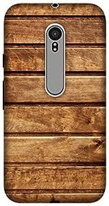 The Racoon Grip Wooden Texture hard plastic printed back case for Motorola Moto G 3rd Gen